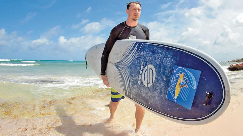 Dale Steyn enjoyed surfing when he played for of the Jamaica Tallawahs in the Hero Caribbean Premier League in Barbados. DC File Photo