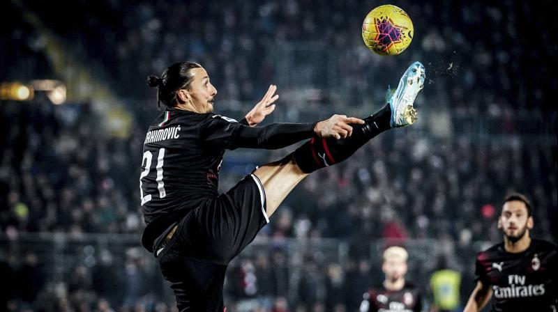 Milan's Zlatan Ibrahimovic during a Serie A match against Brescia. AP Photo