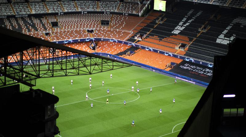 Empty Mestalla stadium which hosted the Champions League round of 16 second leg match between Valencia and Atalanta in Valencia, Spain. AP Photo