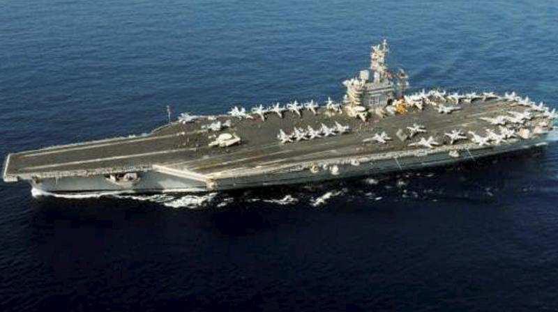 A view of US Navy Carrier Strike Group Ronald Reagan, ahead of a Passage Exercise with INS Kochi and INS Teg, during its transit through Indian Ocean Region on June 23 & 24. (PTI Photo)