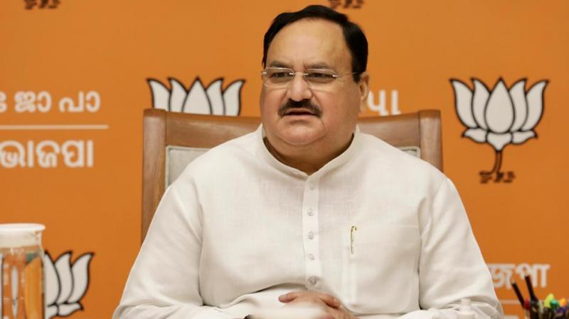 BJP National President JP Nadda at a meeting with party's National General Secretaries at party headquarters in New Delhi.(Photo: Twitter @BJP4India)