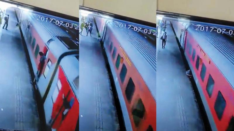 CCTV footage shows the man rolling several times before being crushed on platform of Borivali station.
