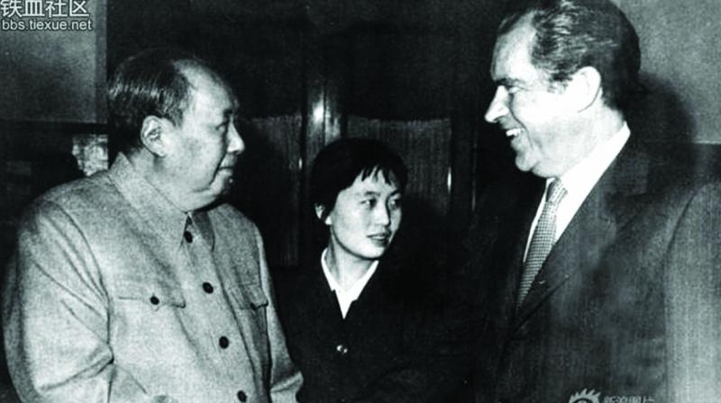 US President Richard Nixon's historic meeting in 1972 with Mao Zedong, chairman of the Communist Party of China.