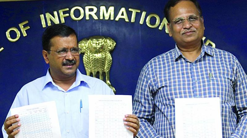 Chief minister Arvind Kejriwal (left) and health minister Satyendar Jain in a file photo.
