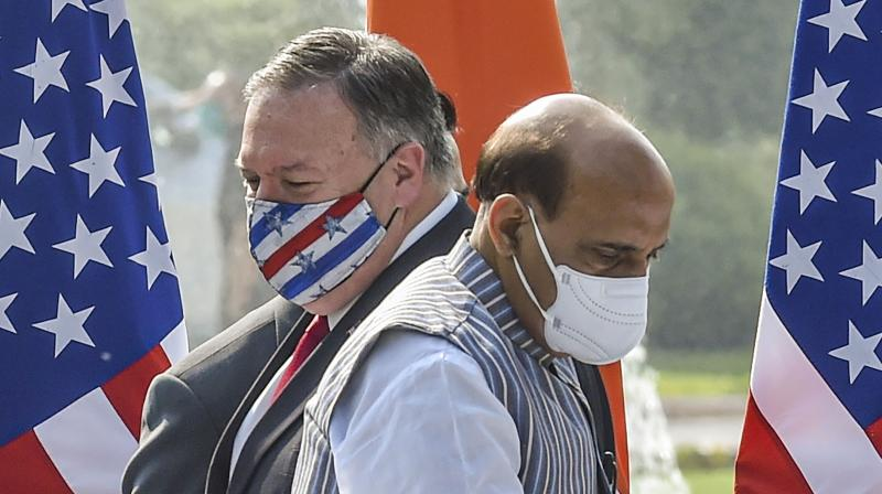 Defence Minister Rajnath Singh and U.S. Secretary of State Mike Pompeo during a press statement, at Hyderabad House in New Delhi, Tuesday, Oct. 27, 2020. (PTI)