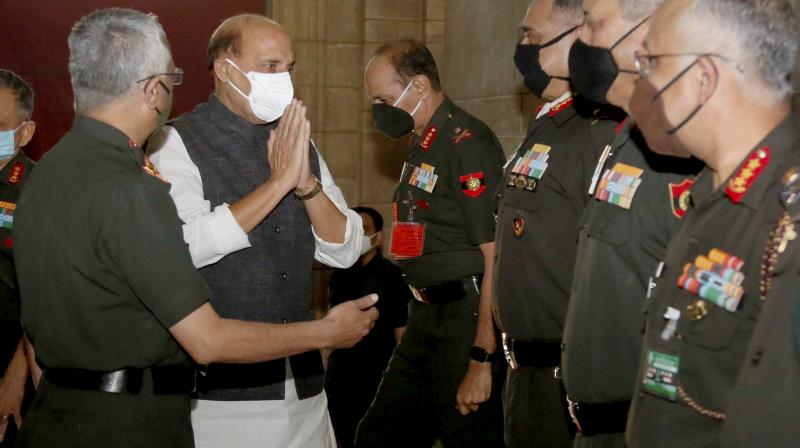 Defence Minister Rajnath Singh at the Army Commanders' Conference, in New Delhi. (PTI)