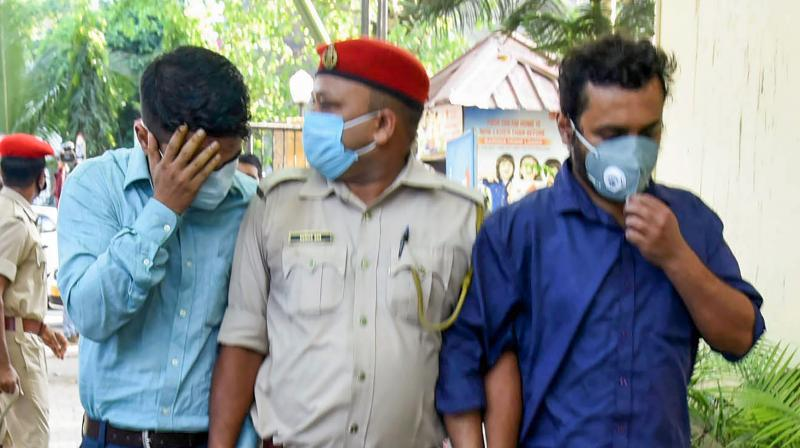 Accuseds arrested in connection with the recent JEE (Main) examination scam, being produced in a court, in Guwahati, Thursday, Oct. 29, 2020. (PTI)