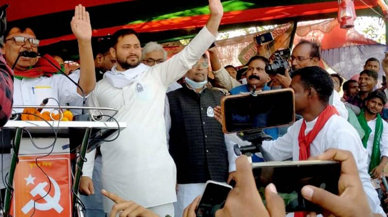Rashtriya Janata Dal (RJD) leader Tejashwi Prasad Yadav addresses during the second leg of campaign for Bihar assembly polls, in Samastipur district, Friday, Oct. 30, 2020. (PTI)
