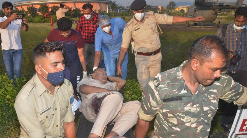 An injured jawan of Central Reserve Police Force (CRPF) being taken for treatment after an IED blast triggered allegedly by CPI-Maoist in Lohardaga district, in Ranchi, Friday, Oct. 30, 2020. (PTI)