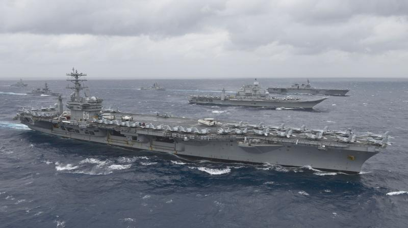 USS Nimitz (CVN 68)as it leads a formation of ships from the Indian navy, Japan Maritime Self-Defense Force (JMSDF) and the US Navy in the Bay of Bengal as part of Exercise Malabar 2017. (AFP)