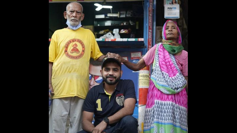 Kanta Prasad (80), the owner of the Baba Ka Dhaba eatery, had shot to fame after a video of him tearfully recounting the desperation of the months since the lockdown was shot by Wasan and shared widely across social media platforms recently. (Image: Twitter/@gauravwasan08)