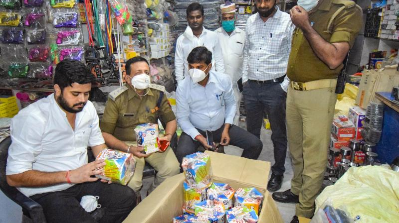 Police seize illegal fire-crackers from a shop in Gorakhpur, Thursday, Nov. 5, 2020. (PTI)