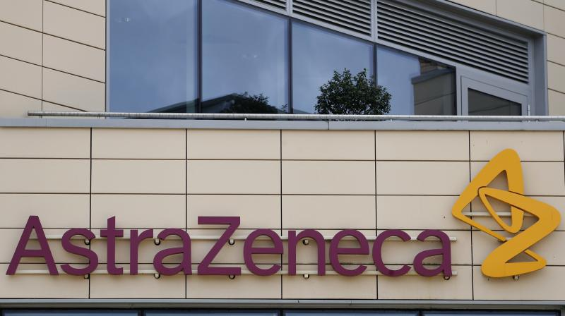AstraZeneca offices and the corporate logo in Cambridge, England. AstraZeneca says late-stage trials of its COVID-19 vaccine were