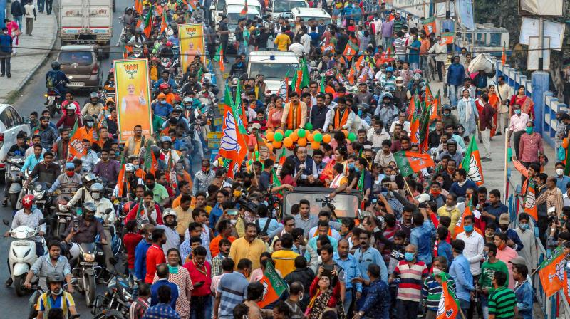 A BJP party rally held in Kolkata, ahead of West Bengal assembly elections. (PTI)