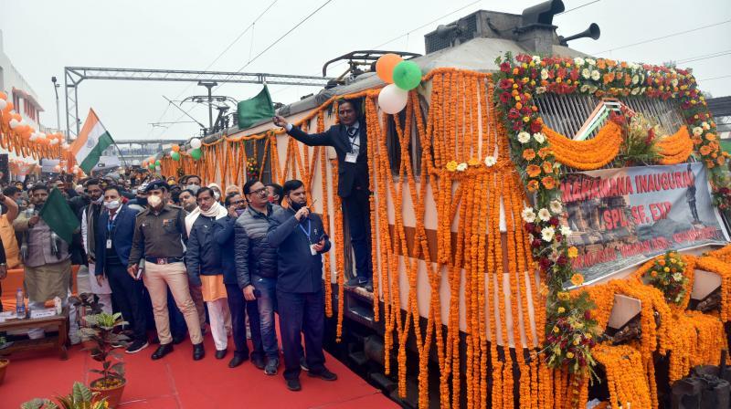 Kashi-Kevadia Express after it was virtually inaugurated by Prime Minister Narendra Modi, in Varanasi, Sunday, Jan. 17, 2021. (PTI)