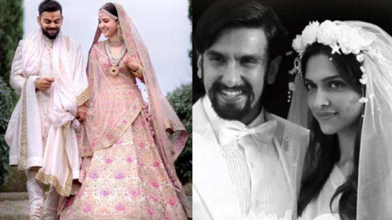 Photo from Virat Kohli and Anushka Sharma's wedding, Deepika Padukone and Ranveer Singh's still from 'Finding Fanny'.