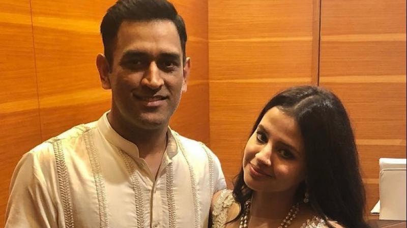 Mahendra Singh Dhoni, popularly known as MSD, on Monday shared a throwback video in which his wife Sakshi is seen not able to deliver a dialogue during an advertisement shoot. (Photo: Sakshi Dhoni/Instagram)