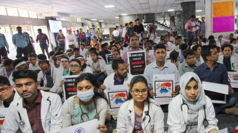 Members of Resident Doctors Association of AIIMS. (Photo- PTI)