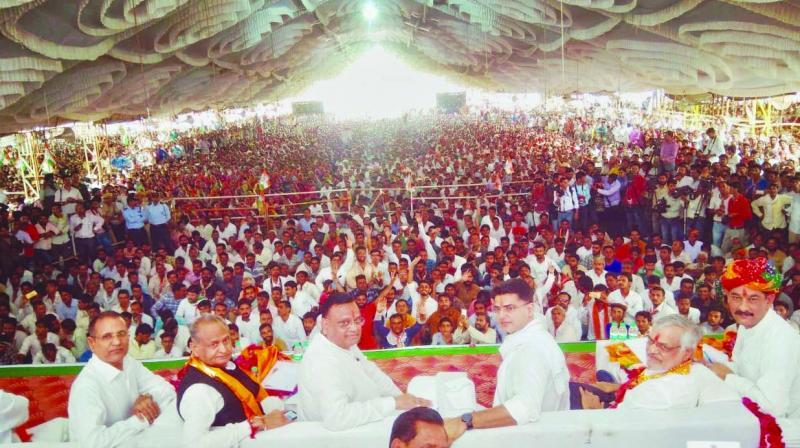 Rajasthan Congress president Sachin Pilot at the party's Sankalp Rally. (Photo: Asian Age)
