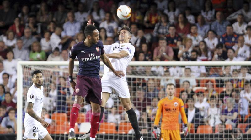 A hat-trick from Pierre-Emerick Aubameyang and an Alexandre Lacazette strike booked Arsenal's place in the Europa League final with a 4-2 win at Valencia on Thursday to seal an emphatic 7-3 aggregate victory. (Photo: AP)