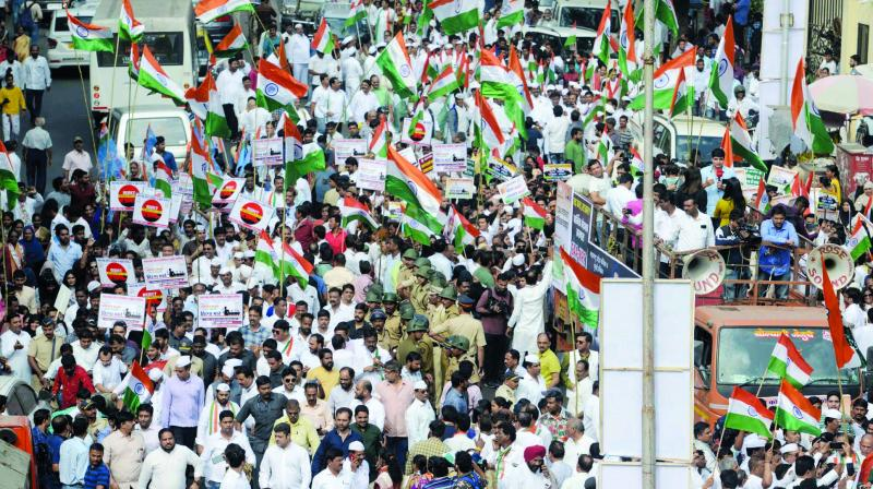 Congress rally on the foundation day. (Photo: Asian Age)