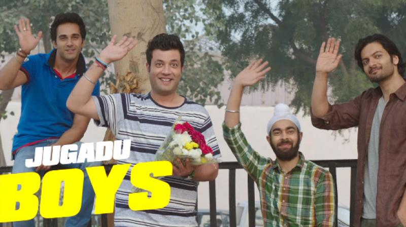 Pulkit Samrat, Varun Sharma, Manjot Singh and Ali Fazal in 'Fukrey Returns.'