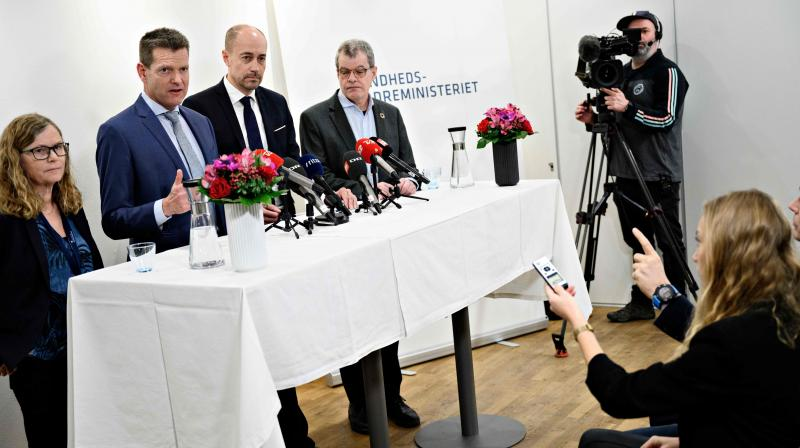 The director of the Danish Patient Safety Board Anne-Marie Vangsted, along with other officials addresses a press conference in his ministry in Copenhagen. AFP Photo