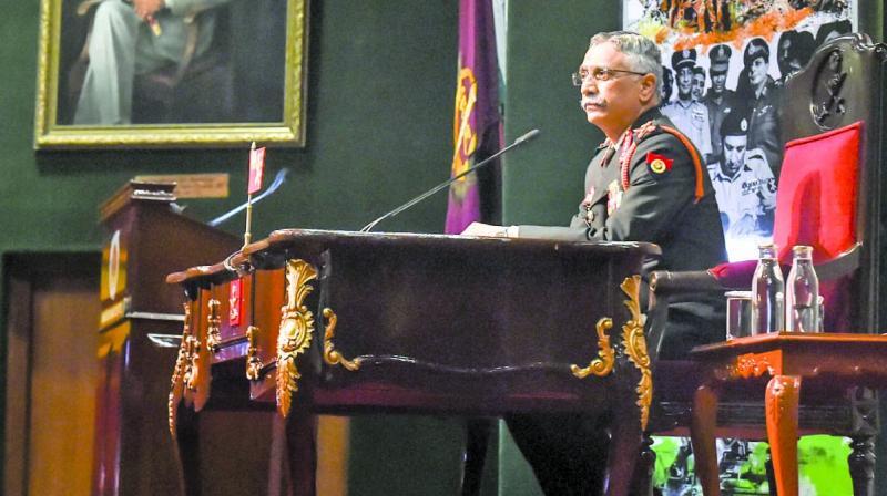 Army Chief Gen. M.M. Naravane during the annual press conference in New Delhi on Saturday. (Photo: PTI)