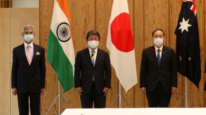 External affairs minister S. Jaishankar (L) met his Japanese counterpart Toshimitsu Motegi (C) for a bilateral meeting in Tokyo on Wednesday .(Image: Twitter/@DrSJaishankar)