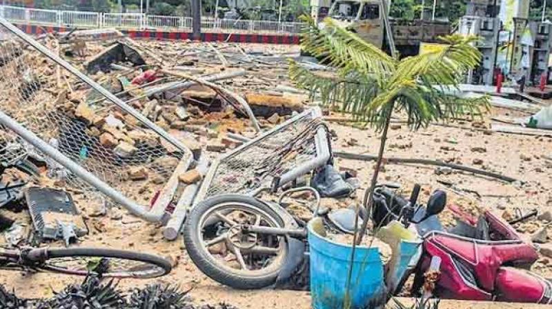 Ravaged filling station near Raj Bhawan in Bhubaneswar.