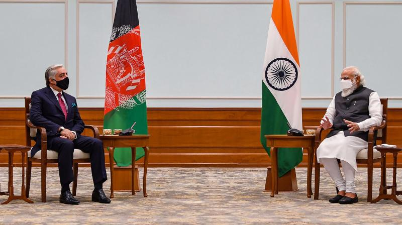 Prime Minister Narendra Modi with Head of Afghan peace council Abdullah Abdullah during the latter's five day visit to India as part of the efforts to build a regional consensus and support for the Afghan peace process. (PTI)