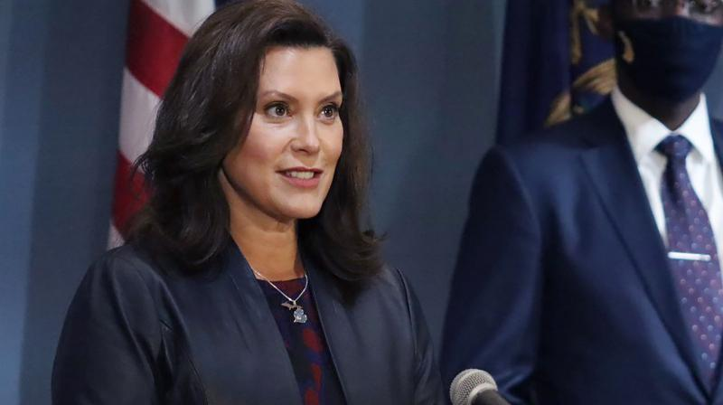 Governor Gretchen Whitmer addresses the state during a speech in Lansing, Michigan. (AP)
