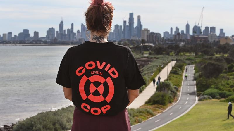 A person out exercising in Melbourne amid the COVID-19 coronavirus pandemic. (AFP)