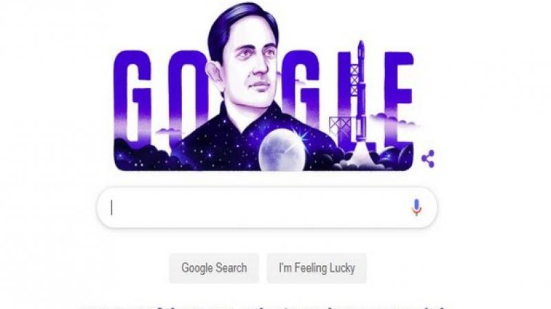 The doodle, illustrated by Mumbai-based guest artist Pavan Rajurkar, had a blue and white portrait of the renowned physicist along with moon, rocket and stars, outlining his association with space programs. (Photo: ANI)