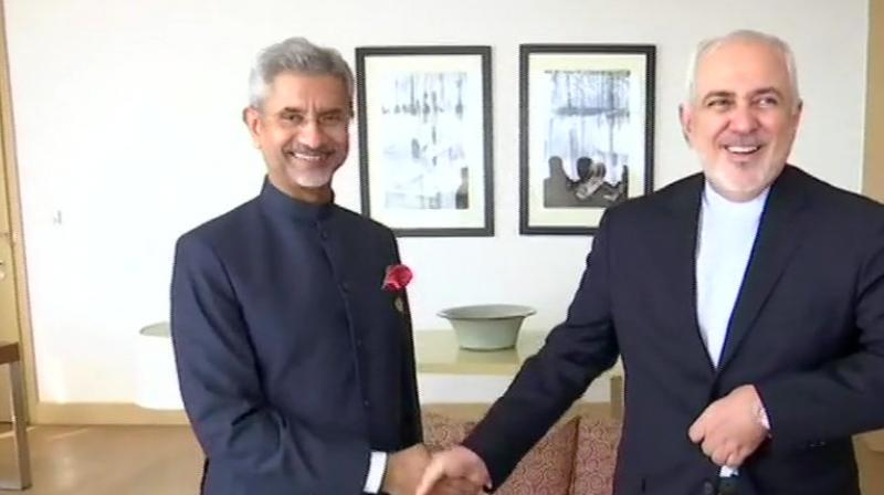 External Affairs Minister Dr. S. Jaishankar met Foreign Minister of Islamic Republic of Iran, Mohammad Javad Zarif, in Dushanbe. (Photo: ANI Twitter)
