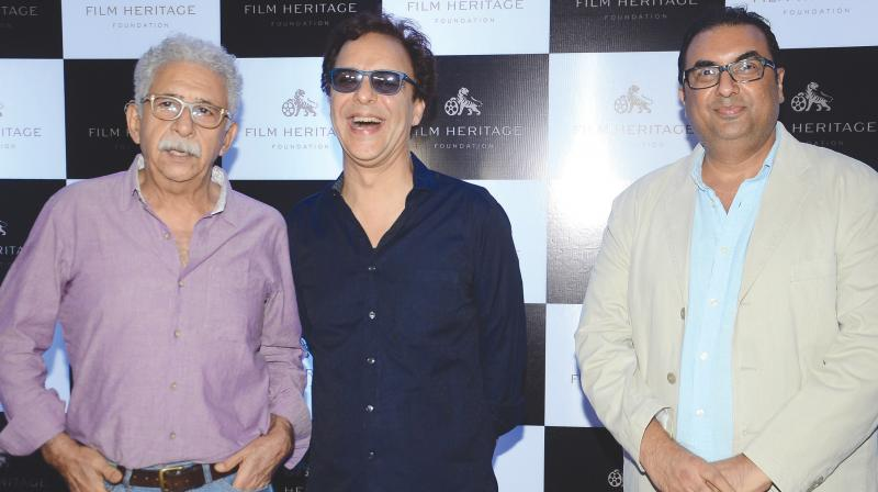 Shivendra (extreme right) with Naseeruddin Shah and Vidhu Vinod Chopra at the launch of the book.