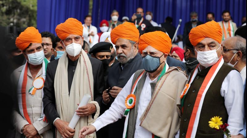 Congress leaders Ghulam Nabi Azad, Anand Sharma, Kapil Sibal, Bhupinder Singh Hooda and Raj Babbar during a 'Shanti Sammelan' event in Jammu on Feb. 27, 2021. (PTI)