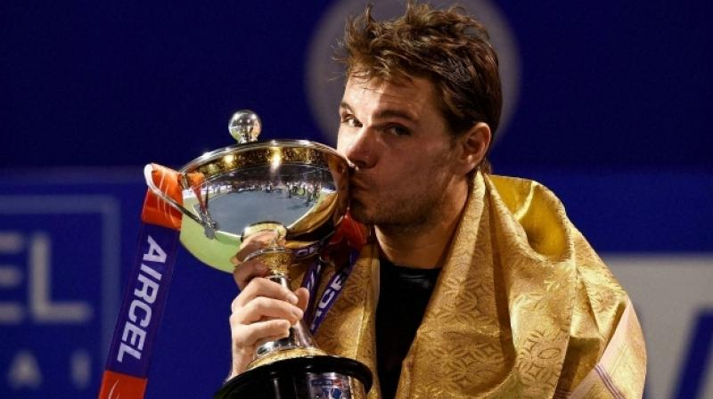 Stan Wawrinka with the Chennai Open trophy. (Photo: PTI)