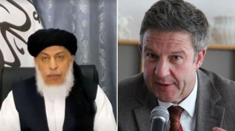 Taliban Political office Deputy Head Sher Mohammad Abbas Stanekzai and Germany's Ambassador to Afghanistan Marx Putzel. (Photo: Twitter)