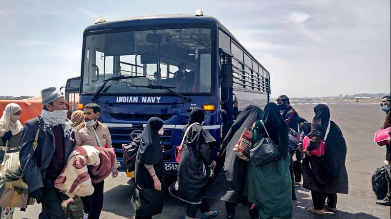 Mumbai:  Indian citizens evacuated from Iran being shifted to a quarantine facility at Ghatkopar in Mumbai on March 13 (PTI)