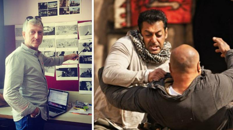Struthers' picture shared on Twitter and a still from 'Ek Tha Tiger'.