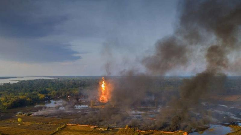 An aerial view of the Baghjan oil field engulfed in fire, in Tisukia, Assam on Tuesday, June 9, 2020. The field has been leaking gas for the past two weeks. (PTI)