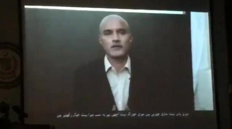 In the video, Jadhav is heard saying, 'I saw fear in her (mother's) eyes, the Indian diplomat was shouting at my mother the moment she stepped out. I saw him shouting, yelling at her.' (Photo: ANI | Twitter)