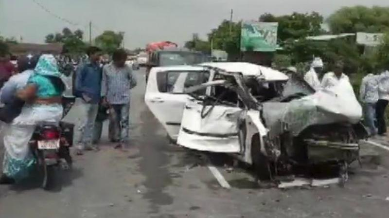 Their car in which they were travelling in rammed into a truck.  (Photo: ANI)