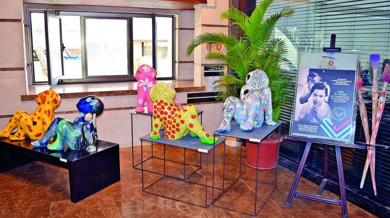 The sculptures have been painted by 75 artists and include works of Manu Parekh, Jayasri Burman, Paresh Maity and more.