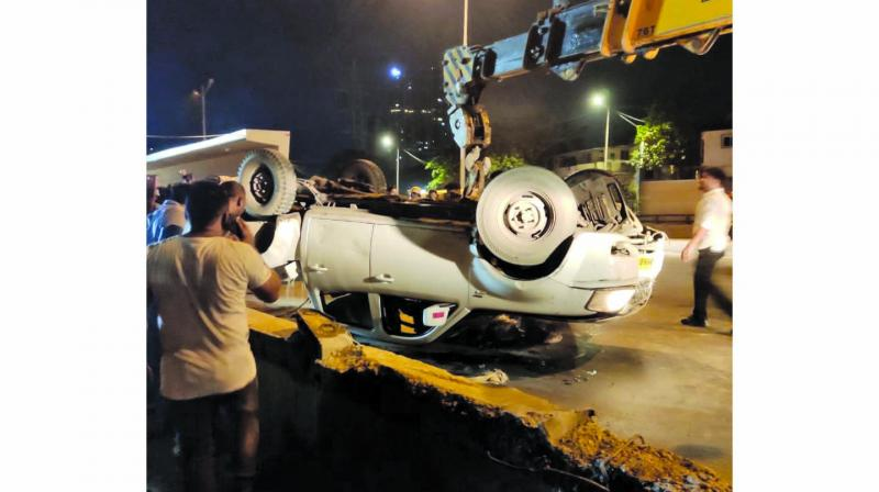 The car involved in the accident.