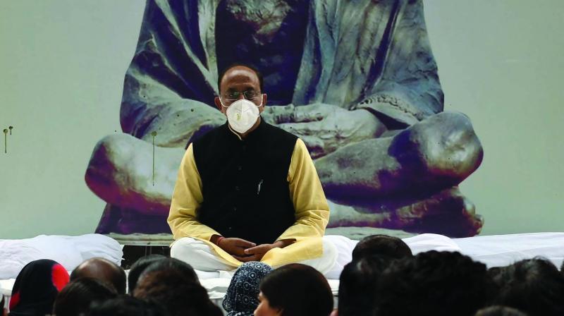 BJP Rajya MP Vijay Goel sits on fast in New Delhi on Friday. (Photo: ASIAN AGE)