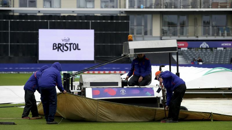 The rain eased a couple of times but only to return and thus the inspection was postponed twice. (Photo: AP)