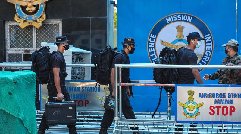 Special security force arrives at Air Force Station after two low intensity explosions reported in the technical area of Jammu Air Force Station in the early hours of Sunday. (Photo: PTI)