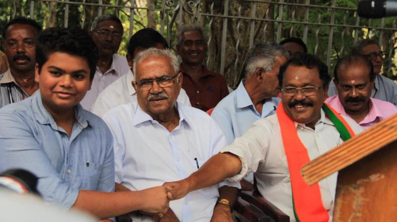 Addressing party workers in Thiruvananthapuram, BJP state president P S Sreedharan Pillai alleged the ruling CPI(M) was on the road to 'liquidation' and the party's graph was coming down. (Photo: Twitter | @BJP4Keralam)